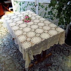 Inch Crocheted Tablecloth Rectangular by TableclothShop Crochet Tablecloth, Round Tablecloth, Crochet Doilies, Color Beige, Crochet Round, Country Chic, French Country, Home Wedding, Applique