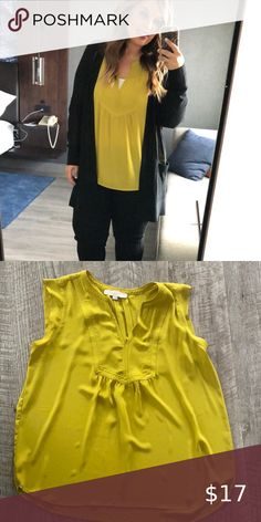 LOFT Chartreuse V-Neck Tank - Worn twice Great condition, just a little too big for me. LOFT Tops Blouses