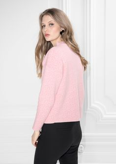 & Other Stories image 3 of Pixel Jacquard Sweater in Light Pink