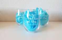 Life is Better at the Pool Wine Glass, Wine Glass Decals, Vinyl Decals, Custom Wine Glasses, Life is Better at the Beach, Stemless Glass Wine Glass Decals, Custom Wine Glasses, Mountain Designs, Vinyl Decals, Life Is Good, Good Things, Mountains, Unique Jewelry, Handmade Gifts