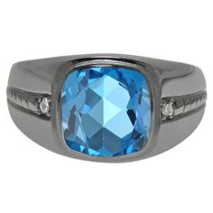 Cushion-Cut Blue Topaz Gemstone Men's Ring In Black Rhodium Plated White Gold Gemologica.com offers a unique and simple selection of handmade fashion and fine jewelry for men, woman and children to make a statement. We offer earrings, bracelets, necklaces, pendants, rings and accessories with gemstones, diamonds and birthstones available in Sterling Silver, 10K, 14K and 18K yellow, rose and white gold, titanium and silver metal. Shop Gemologica jewellery now for cool cute design ideas: gem