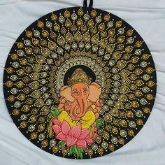 Ganesha tapestry with peacock design Ganesha Painting, Madhubani Painting, Mandala Painting, Mandala Art, Rock Painting Patterns, Dot Art Painting, Online Painting, Mandala Design, Peacock Design
