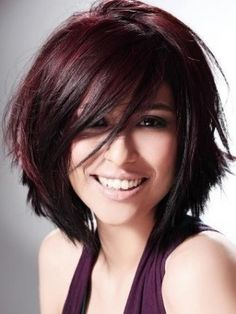 layered bob...chocolate cherry brown: love the color