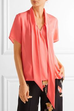 Coral silk crepe de chine Slips on 100% silk Dry clean Designer color: Peach  Made in Italy