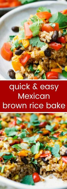 Easy Mexican Brown Rice Bake makes dinner healthy, fast, fun! Vegan, vegetarian, gluten free friendly, clean eating options. 10 Weight Watchers Smartpoints®.