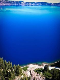 Crater Lake, Oregon Deepest lake in the U.S. Famous for its blue water. Formed with the eruption of the Mt.Mazama Volcano.