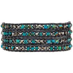 Chan Luu 32' Compressed Turquoise Crystal Wrap Bracelet ($215) ❤ liked on Polyvore featuring jewelry, bracelets, black bangles, adjustable bracelet, crystal bracelet, turquoise bangle and black bracelet
