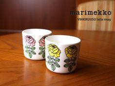 "etre par bleu comme bleu: Sublimate latte mugs (small) two sets ""VIHKIRUUSU"" and Latte Mugs, Marimekko, Tableware, Dinnerware, Tablewares, Dishes, Place Settings"