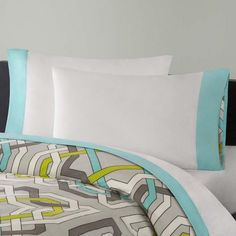 Boasting soft cotton and a sophisticated design, this sheet set creates an inviting ambience for sleep-seekers. Echo Bedding, Flat Sheets, Sheet Sets, Aqua Blue, Color Pop, Mattress, Bed Pillows, Pillow Cases
