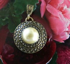 Vintage  pendant  with  faux  pearl | BellaWorxJewelry - Jewelry on ArtFire