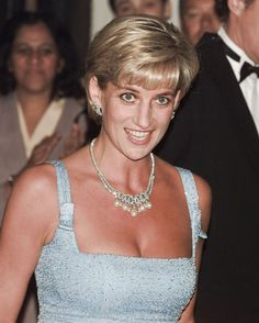 June 3, 1997: Diana Princess of Wales at the English National Ballet production of Swan Lake at the Royal Albert Hall.  Details by Kylie Andrews: June 1997 swan lake. Low-cut, short, beaded silk georgette gown designed by Jacques Azagury and borrowed pearl and diamond jewellery. Photo: Shutterstock, bulls press | kasjauns.lv