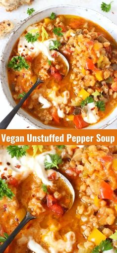 Easy vegan unstuffed pepper soup recipe with mushrooms and whole grain farro in a lightened up, healthy and hearty tomato based broth. Oil free, plant based vegan! Veggie Soup Recipes, Healthy Soup Recipes, Mushroom Recipes, Healthy Cooking, Healthy Life, Vegetarian Recipes, Healthy Living, Easy Stuffed Peppers, Stuffed Pepper Soup