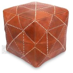 Ikram Design - Dark Tan Square Moroccan Pouf with Thread Patterns, $129.99 (http://www.ikramdesign.com/dark-tan-square-moroccan-pouf-with-thread-patterns/)