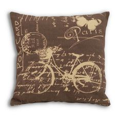 Find it at the Foundary - 16 in. Brown Bicycle Pillow