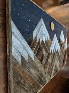 Handmade reclaimed wood snowcapped mountain peaks with night sky moon and stars wall art Wood Crafts Art handmade Moon Mountain Night peaks reclaimed Sky snowcapped Stars Wall Wood Diy Wood Projects, Wood Crafts, Woodworking Projects, Art Projects, Reclaimed Wood Projects, Woodworking Furniture, Fine Woodworking, Wood Projects That Sell, Woodworking Quotes