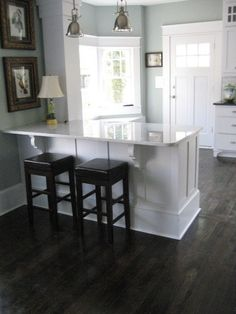 White kitchen with dark floor boards. THIS IS IT! Colors and all! PERFECT!