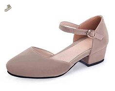 SFNLD Women's Sweet Suede Round Toe Ankle Strap Buckle Low Block Heel Pumps Shoes Light Brown 8 B(M) US - Sfnld pumps for women (*Amazon Partner-Link)