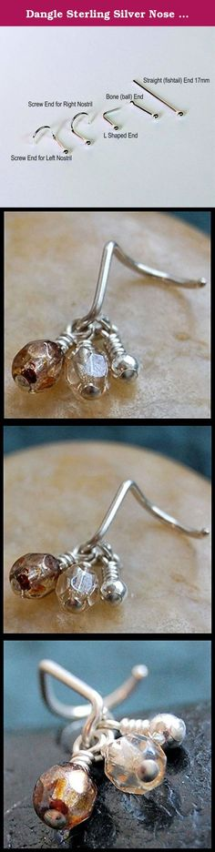 Dangle Sterling Silver Nose Stud, Wrapped Gemstone Nose Stud, Sterling Nose Stud, 18/20/22 Gauge Nose Stud, Bone End, L End, Screw End, Fishtail End, Customizable Nose Stud. Like warm, brown cinnamon, these Czech fire polished faceted beads complete this sterling silver dangle nose stud.