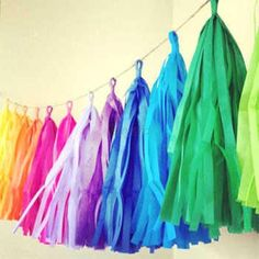 "5 x Tissue Paper Tassels Christmas Wedding Party Decor Garland Tassle Bunting/Balloon Pom Pom. Size of Each Tissue Paper: 4.5""x13.5""(12x35cm). Fit for wedding,dining,banquet, meeting. Colour: 24 Color for choice. 