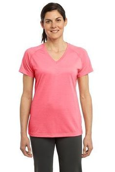 SportTek Womens Sweat Wicking Performance VNeck TShirt Bright Pink Large -- Find out more about the great product at the image link.(This is an Amazon affiliate link and I receive a commission for the sales) #WomensActivewear