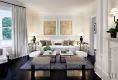 Victoria Hagan designed the serene living room of a Connecticut house redone by architect Allan Greenberg.