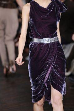 Ralph Lauren - plum velvet dress with silver belt   ♥