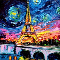 """Eiffel Tower Starry Night - Paris Art - Fine art print - van Gogh Never Saw Eiffel Art by Aja Large 24x24 inches. This stunning print of my original painting entitled """"van Gogh Never Saw Eiffel"""" utilizes all silver traditional photo processing. It is printed on high quality Fujifilm Crystal Archive paper, which will last over 60 years without fading. 24x24 inches. *Please note colors may vary from monitor to monitor due to individual settings and limitations in digital photography - every..."""