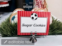 Soccer birthday party EDITABLE & PRINTABLE Food by theuniqueday