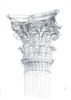 Michal Suffczynski Corinthian order, pencil&watercolor study