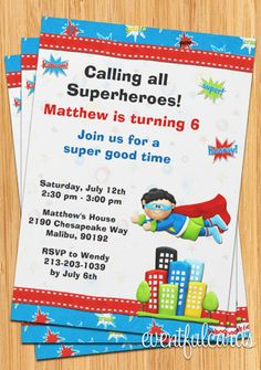 Superhero Birthday Party Invitation.