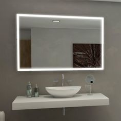 Bathroom Lighting And Mirrors Design halo wide led light bathroom mirror 842v | illuminated bathroom