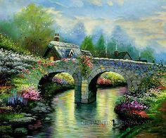 "Hand Painted Large Wall Art Cheap Garden Bridge Spring, Size: 24"" x 20"", $83. Url: http://www.oilpaintingshops.com/hand-painted-large-wall-art-cheap-garden-bridge-spring-1895.html"