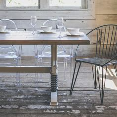 Adding a modern flare to your farmhouse is easy with our Channel Bridge Table. Visit www.boxcarhouse.com to view some of our pieces made from authentic reclaimed boxcars!