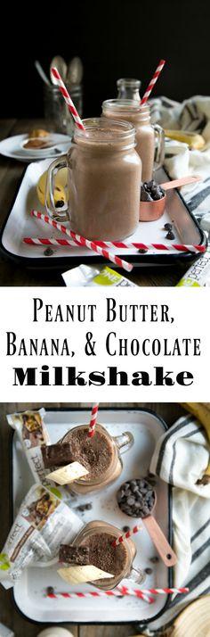 Peanut Butter, Banana, and Chocolate ZonePerfect Nutrition Bar Milkshake #ad #milkshake #healthy #chocolate #smoothie #peanutbutter #breakfast