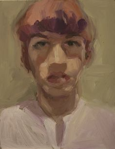 Catherine Tyler Graffam self portrait with pink and purple hair oil on board, 8x10""