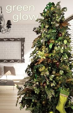 This is the one! green tree + flocked