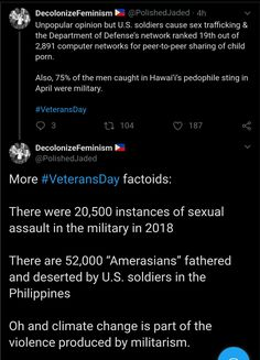 American military has enabled anthropogenic global warming rape rape culture sex trafficking prostitution gendAmericanered imperialism and pedophilia. Intersectional Feminism, The More You Know, Faith In Humanity, Social Issues, Conte, Global Warming, Social Justice, Thought Provoking, In This World