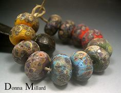 HANDMADE LAMPWORK GLASS Bead Set Donna Millard rustic relic assemblage orange green black yellow autumn fall by DonnaMillard on Etsy https://www.etsy.com/listing/162245578/handmade-lampwork-glass-bead-set-donna