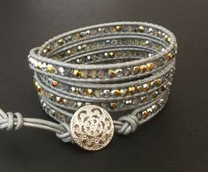 Leather Wrap Bracelet Silver Grey Metallic by SunnyDazebySal