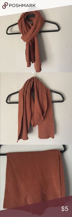 Unisex knit scarf Chestnut brown scarf! It is a smaller scarf that can be worn by men and women. Very versatile! Excellent condition, has been worn once. No holes, pulls, stains etc. Accessories Scarves & Wraps