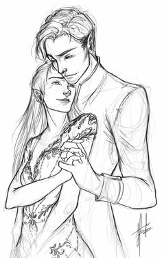 Rhys and Feyre sketch because I'm a soppy piece of shit and don't know if I can wait until next year for the next book to come out. Yes I will be painting this. Yes it is a scene from Starfall. Yes I spent my Friday evening doing this. NO...