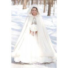 Long White Cloak over Gown ... in the snow ... FROM: StarBridalApparel ... Marvelous Full Length Sleeveless Winter Wedding Dress Cloak