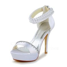 These....I love!  So much so that I ordered them and they are perfect!  Women's Satin Stiletto Heel Pumps Sandals With Imitation Pearl Rhinestone Zipper (047040237) - DressFirst