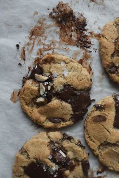 Hazelnut Praline and Rye Chocolate Chunk Cookies — Butter and Brioche No Flour Cookies, Yummy Cookies, Cookies Et Biscuits, Hazelnut Cookies, Chocolate Chunk Cookies, Best Cookie Recipes, Apple Recipes, Hazelnut Praline, Molten Chocolate