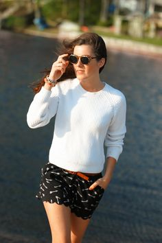 Sweater by Brooks Brothers, shorts by Anthropologie, belt by J.Crew, glasses by Madewell. (June 5, 2014)