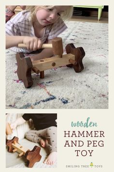 Hone motor skills and hand eye coordination with this unique hammer and peg toy. Educational and fun this wood toy is perfect for montessori open ended play. #smilingtreetoys Wood Kids Toys, Wooden Baby Toys, Toys For Boys, Wooden Toys For Toddlers, Children Toys, Best Toys For Toddlers, Making Wooden Toys, Wood Toys Plans, Handmade Wooden Toys