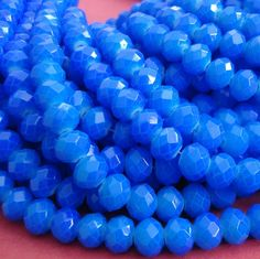 15inch-Blue Quartz Glass Faceted Rondelle Beads...8mmx6mm..