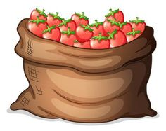 Ilustraci�n de una bolsa de fresas en un fondo blanco Strawberry Art, Teacher Cartoon, Fruits And Veggies, Vegetables, Apple Baskets, Prayers For Strength, Recipe Cards, Diy And Crafts, Clip Art
