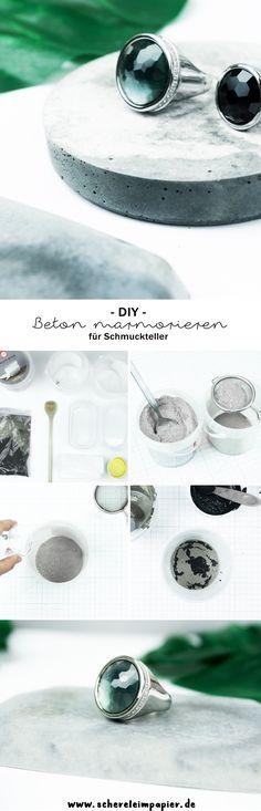 Diy marbled cement platter // DIY marmorierte Platten für Schmuck aus Beton: Auf dem Blog erfahrt ihr, wie es funktioniert und ihr diese tolle Schmuckaufbewahrung selbst basteln könnt. Eignet sich auch super als selbstgemachte Geschenkidee! | marbled concrete jewelry display | schereleimpapier DIY Deko