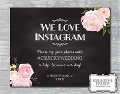 Custom Peony Flower Chalkboard Instagram Hashtag by CreativePapier, $8.00